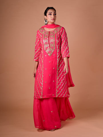 Rani pink Pallazo Suit With Gotta Work in Georgette and Chiffon Dupatta
