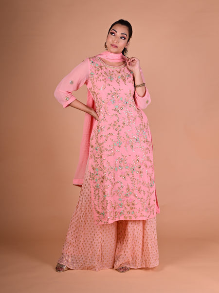 Pink Pallazo Suit With Floral Embroidered Jaal And Chiffon Dupatta