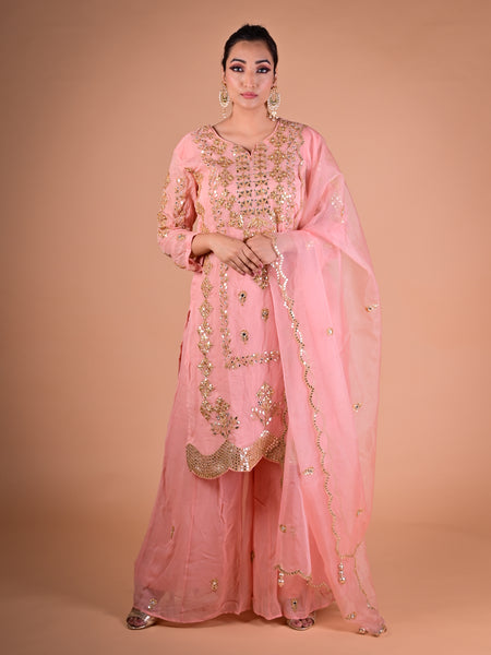 Powder pink pallazo suit in georgette adorned in gotta work with scalloped hemline
