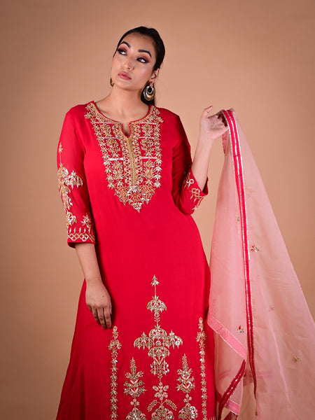 Red Pallazo Suit With Zari, Resham and Sequin Embroidery in Georgette with Organza Dupatta