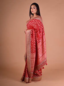 Scarlet Red Banarasi Saree In Georgette With Weaving and Gotta Work