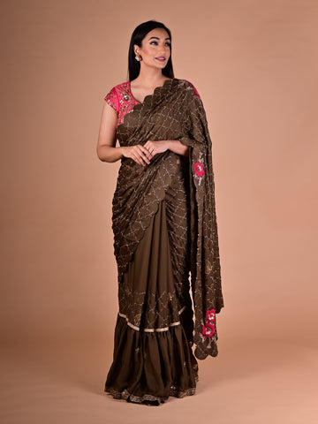 Green Saree With Ruffled Hemline in Satin Silk with Embroidered Pink Silk Blouse