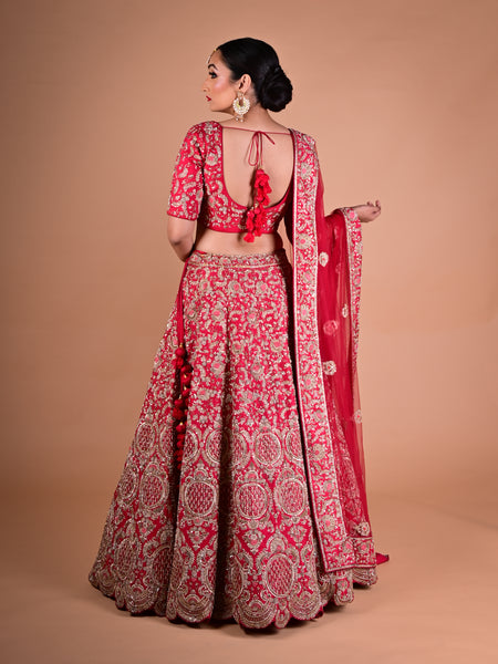 Red Lehenga In Raw Silk With Hand Embroidered Floral Motifs