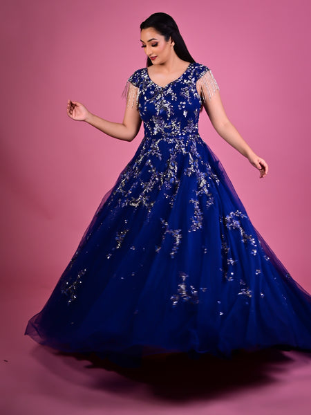 Blue Gown in Net With Sequins And Cutdana Floral Embroidery