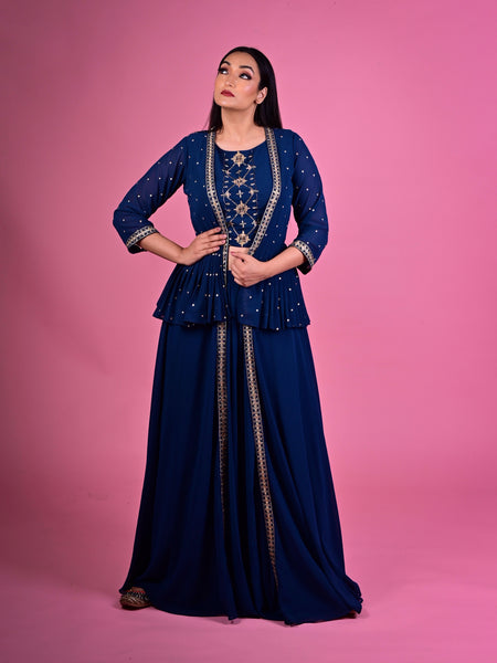 Blue Palazzo Suit And Long Jacket With Peplum Waist And Embroidered Crop Top