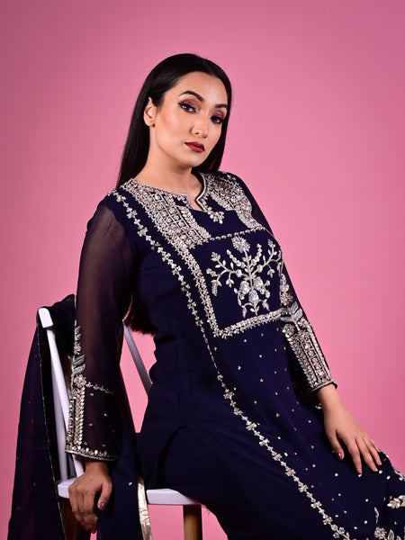 Navy Blue Pallazo Suit With Zari and Sequin Embroidery in Georgette