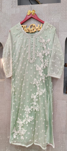 Pure Organza Thread Work Kurta