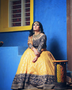 Yellow and charcoal grey Banarasi Lehenga