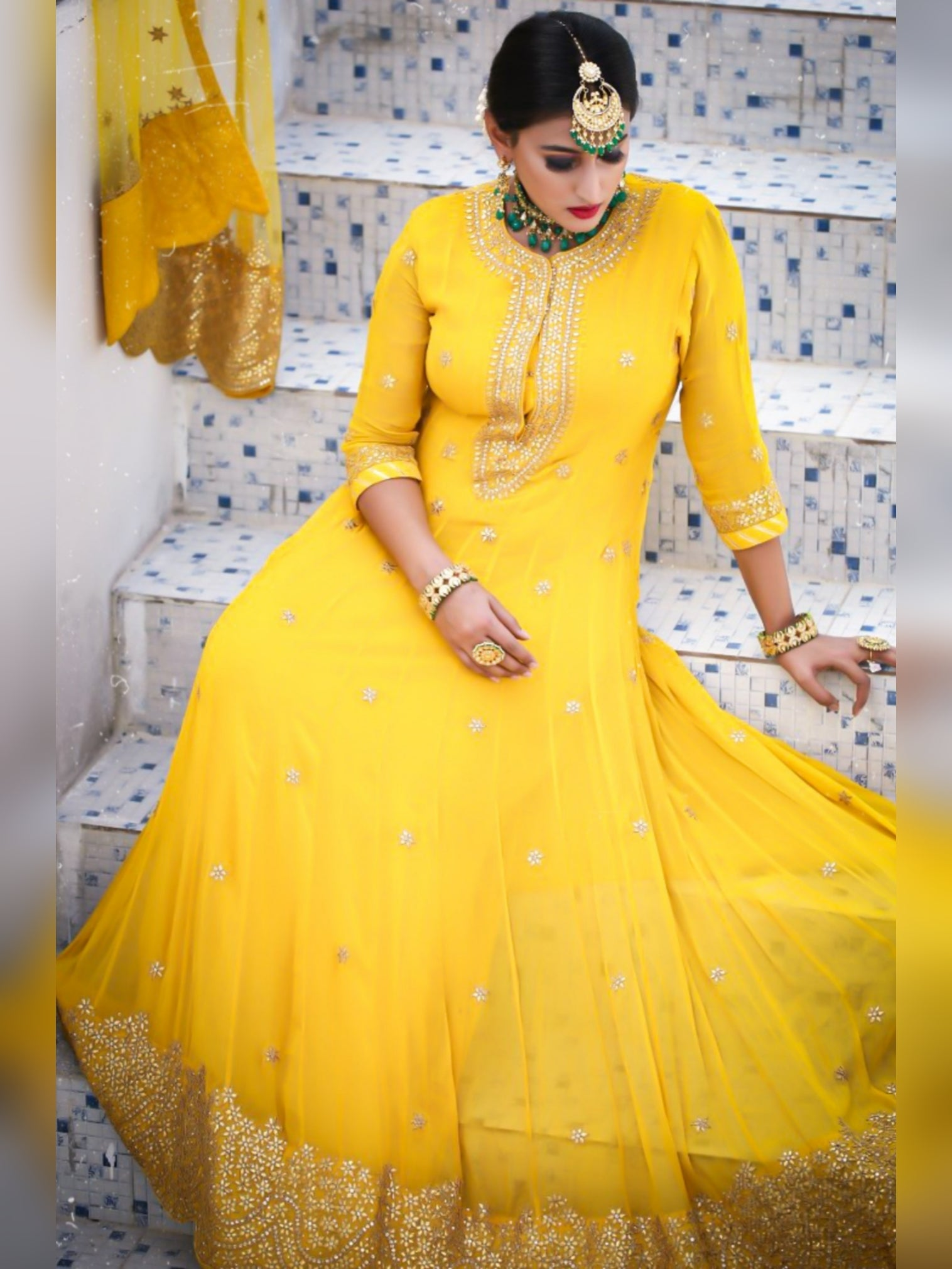 Mustard Yellow Gotta Work Anarkali With Scalloped Hem