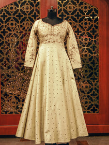 Off White Indowestern Gown With Embroidered Floral Motifs
