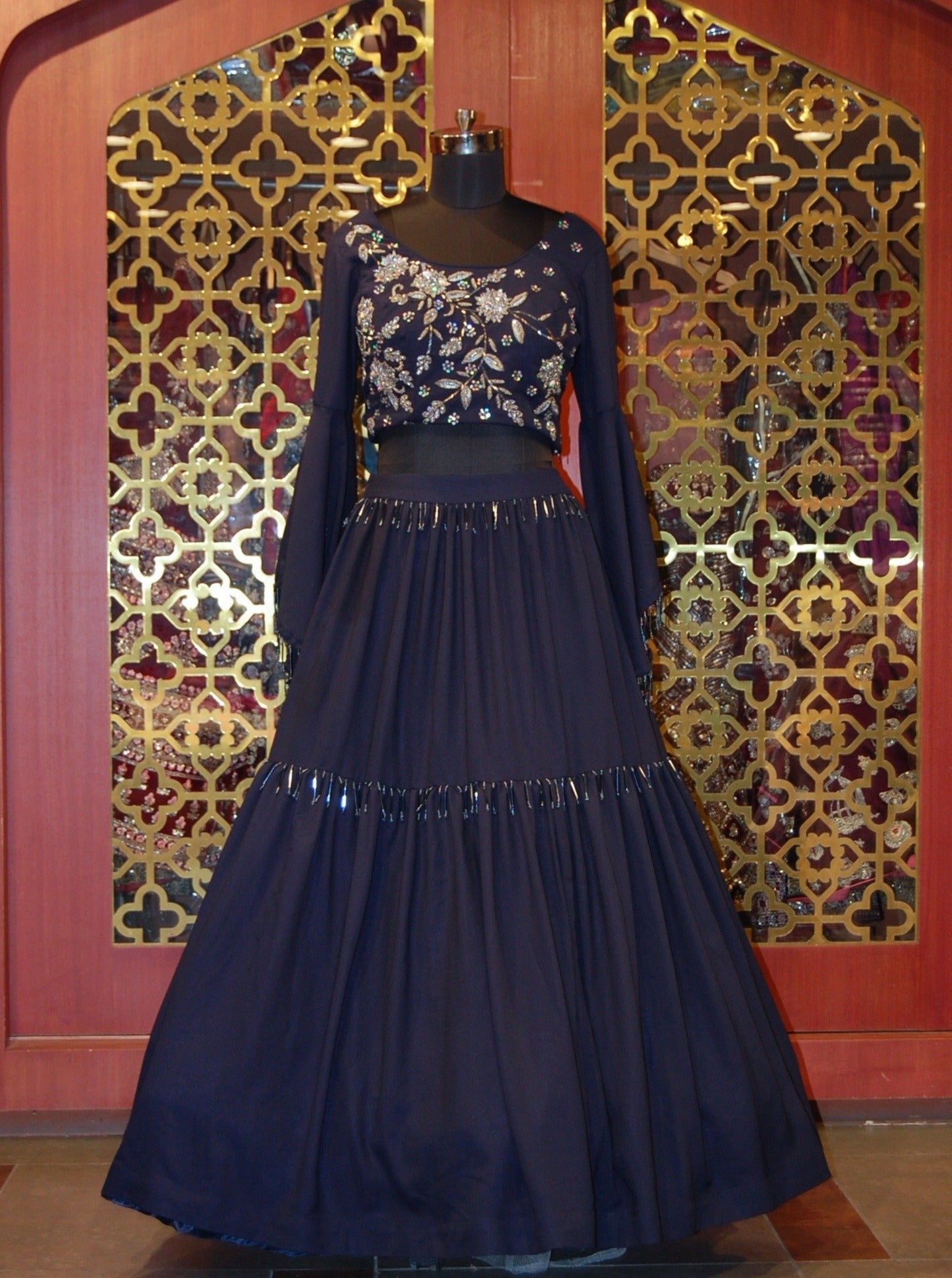 Midnight blue Georgette embroidered Skirt top