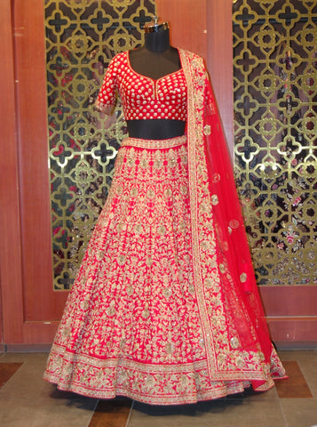 Anardana Red Silk Lehenga Choli in Zardozi and Aari Embroidered Work