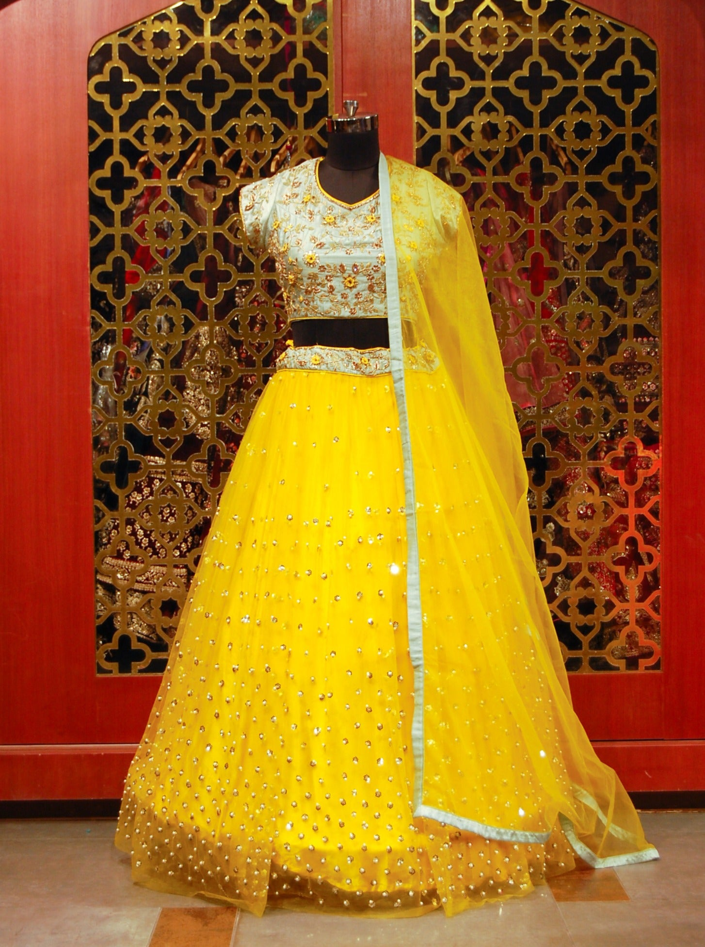 Sea-green and Yellow Lehenga