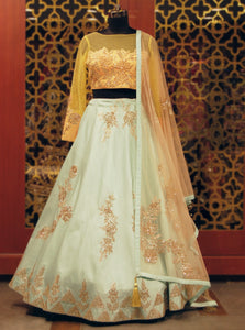 Aqua blue and Yellow silk Lehenga with gotta work
