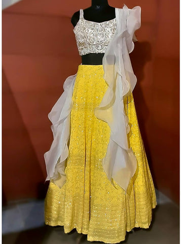 Lemon yellow and grey chikankari Lehenga