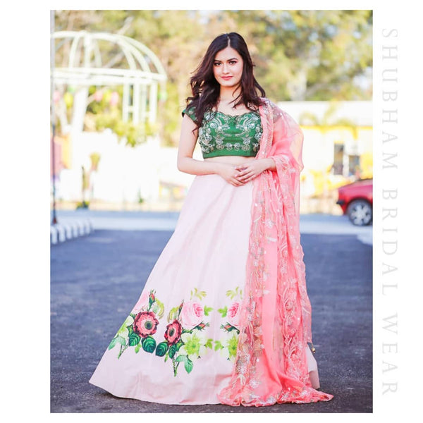 Pastel pink and fern green Floral Lehenga