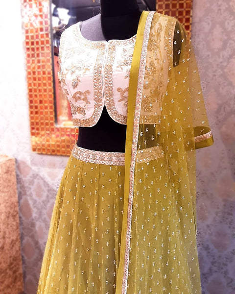 Mehendi Green and Beige Lehenga