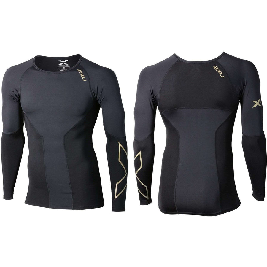 2XU Men's ELITE COMPRESSION LONG SLEEVE TOP Black/Gold - OPSGEAR