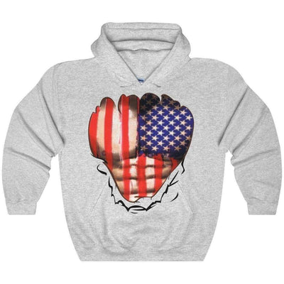 OPSGEAR:American Flag Ripped Chest Heavy Blend Hooded Sweatshirt