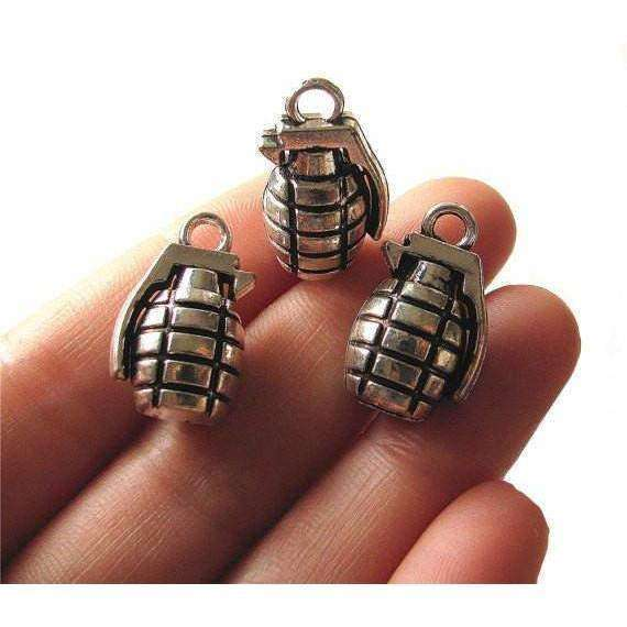OPSGEAR:Antique silver Charms GRENADE Pendant (Set of 3)