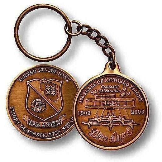 OPSGEAR:Blue Angels Challenge Coin Key Chain - Bronze Antique
