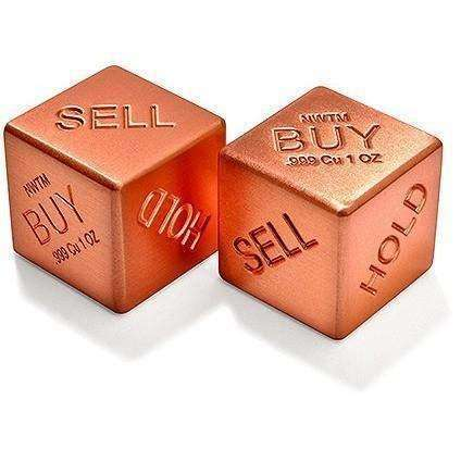 OPSGEAR:Buy, Sell, Hold - 1 Pair Solid Pure Copper Dice - 1 Oz Ea.