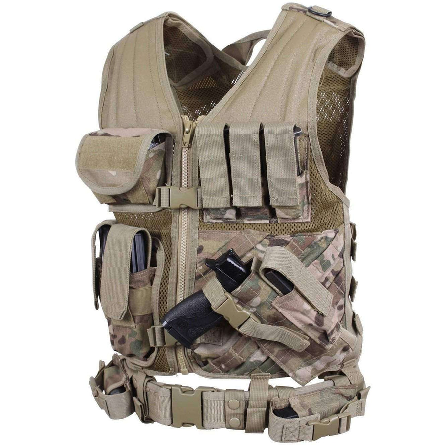 OPSGEAR:Cross Draw MOLLE Tactical Vest - Multicam - Rothco