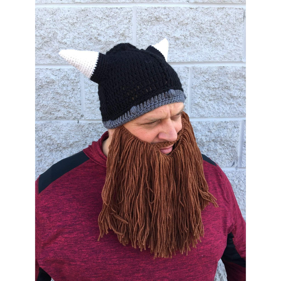 OPSGEAR:Knitted Wool Viking Horn Hat and Removable Beard