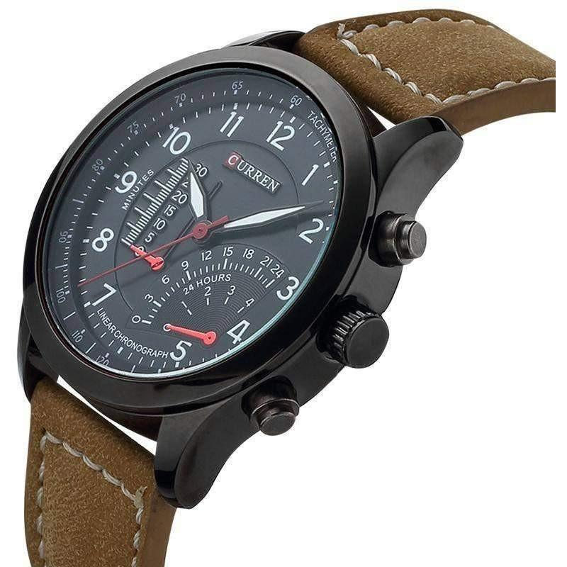 Military Leather CURREN Luxury 8152 Men's Quartz Sport Watch - OPSGEAR
