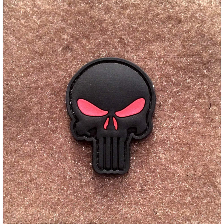 Punisher Black | Red PVC Morale Patch - OPSGEAR