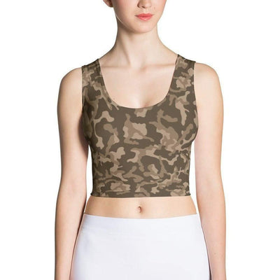 Russian Woodland Brown CAMO Sublimation Cut & Sew Crop Top - OPSGEAR