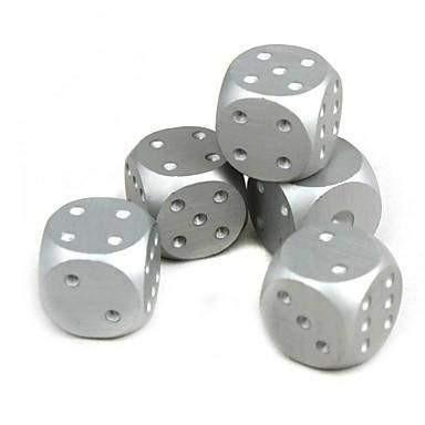 Solid Aluminum 5 Piece Poker Dice Game - Silver - OPSGEAR