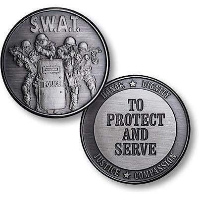 SWAT Protect and Serve Nickel Antique Coin - OPSGEAR