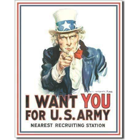 Uncle Sam I Want You Vintage Tin Sign - OPSGEAR