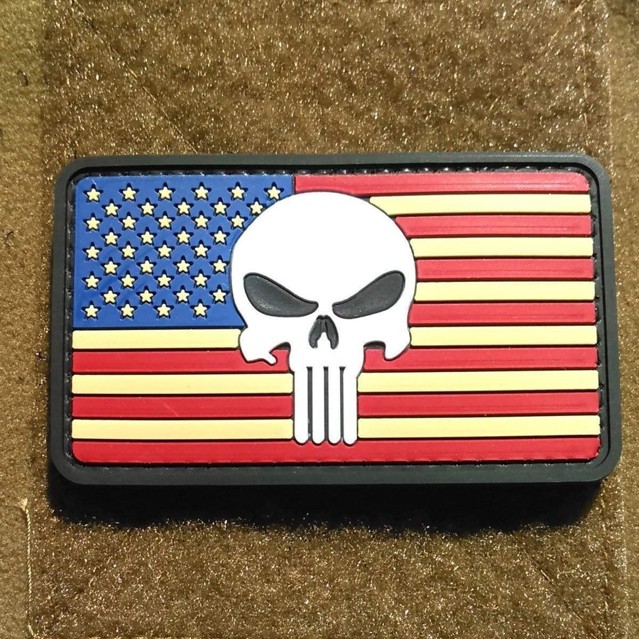 USA Flag with Punisher PVC Morale Patch - OPSGEAR
