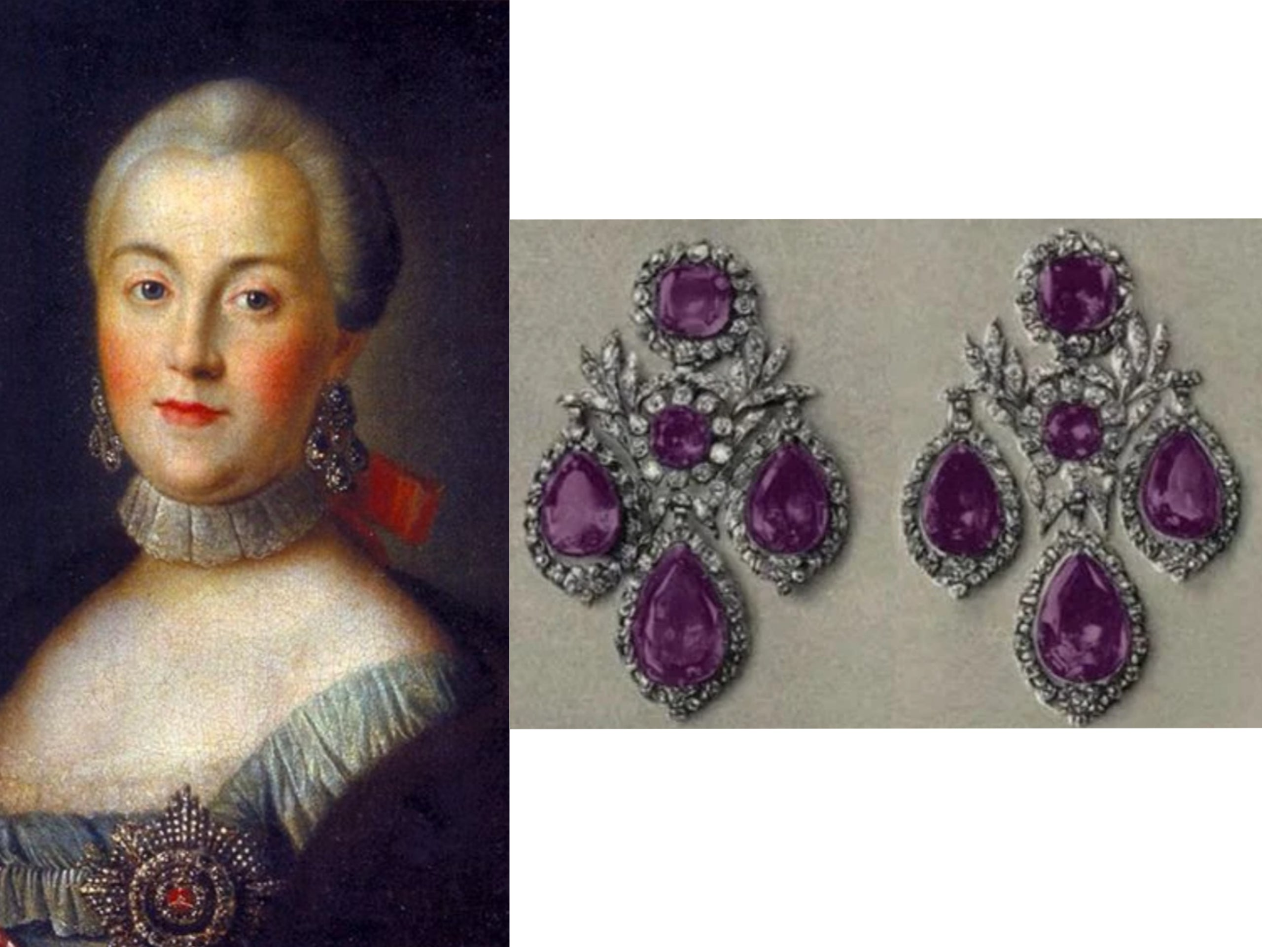 Catherine the Great wearing her famous amethyst earrings