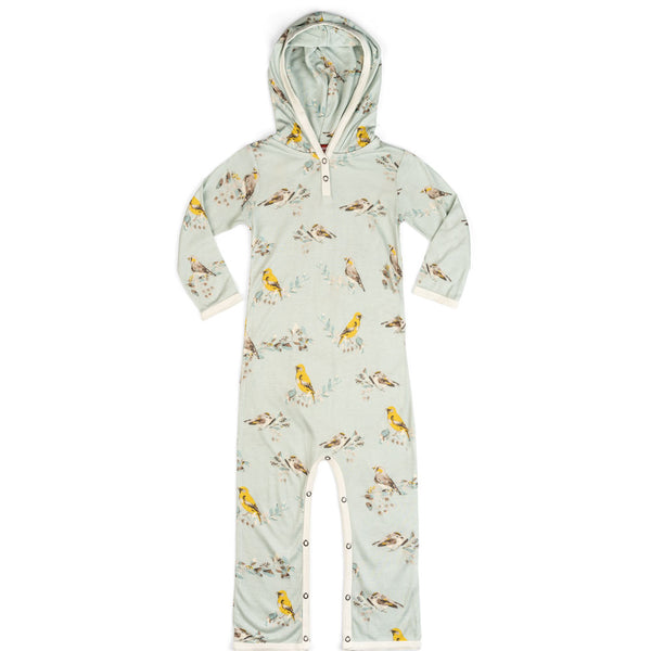 Hooded Romper Blue Birds