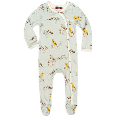 Footed Romper Blue Bird