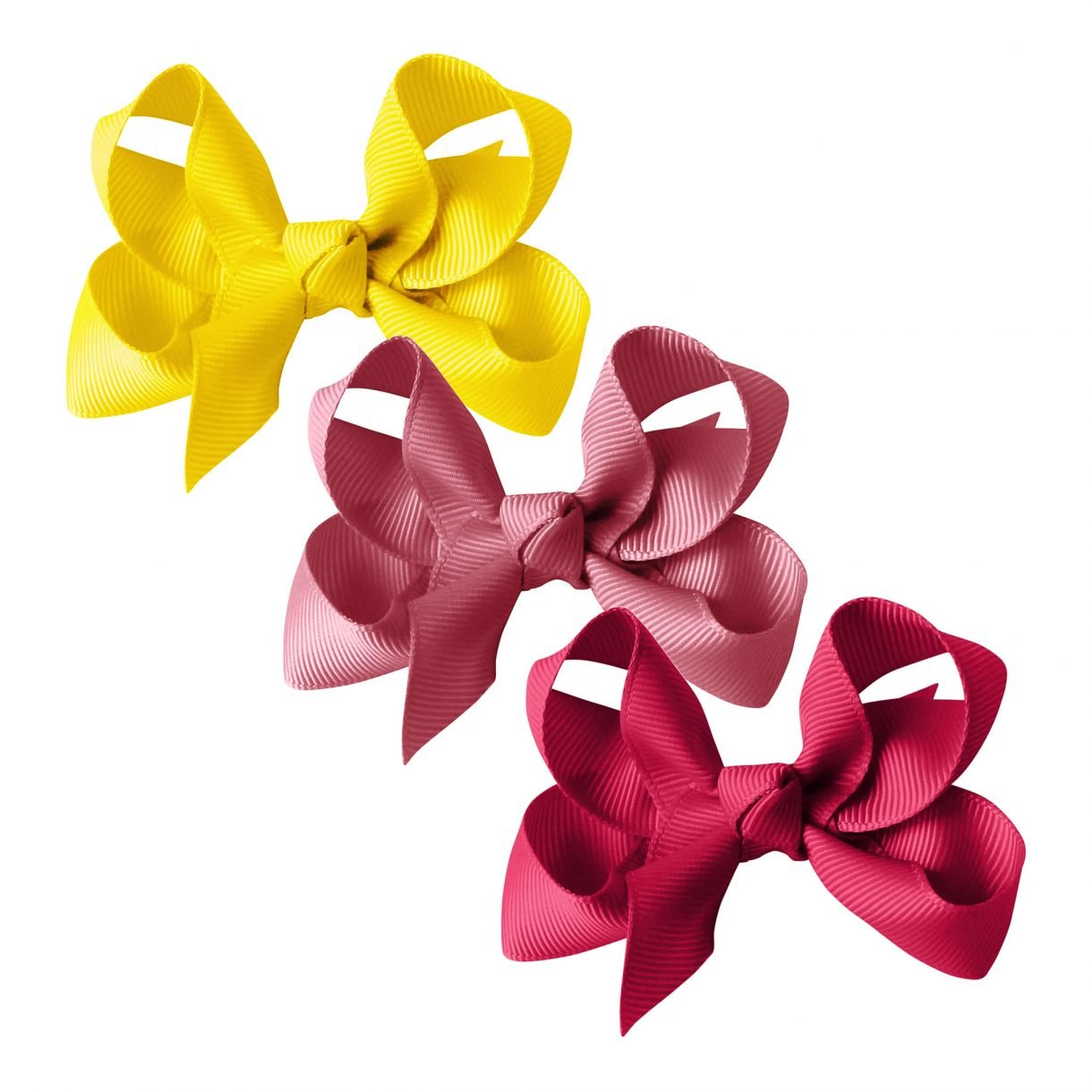 GROSGRAIN COLLECTION – 3 MEDIUM BOUTIQUE BOWS – YELLOW/PINK