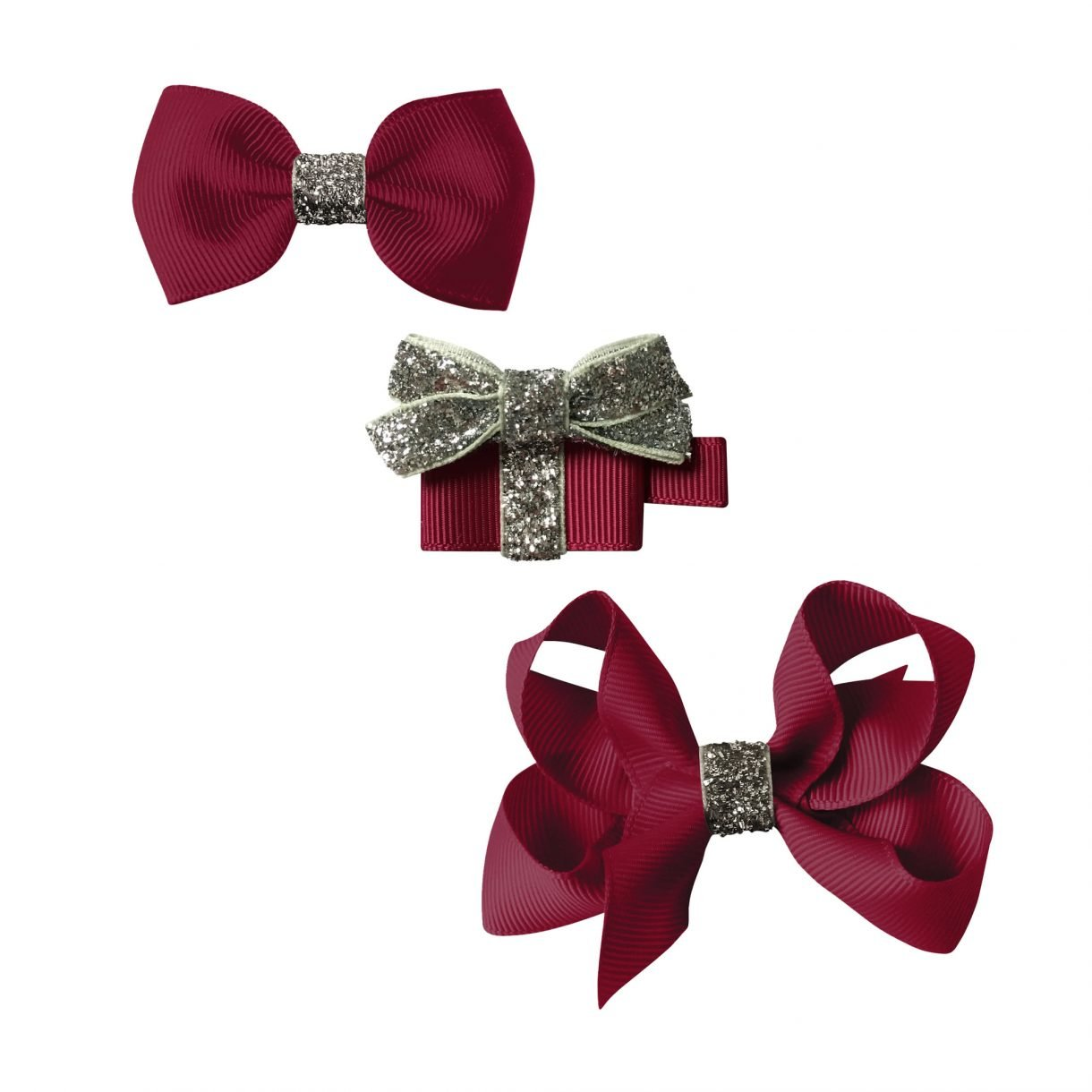 CHRISTMAS GIFT SET – A GIFT AND 2 BOWS – WINE / SILVER