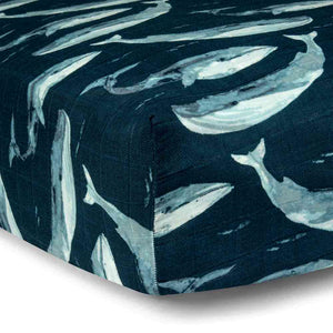 Muslin Fitted Crib Sheet- Whale (Bamboo)