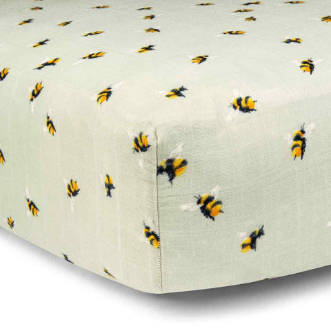 Muslin Fitted Crib Sheet- Bumble Bee (Bamboo)