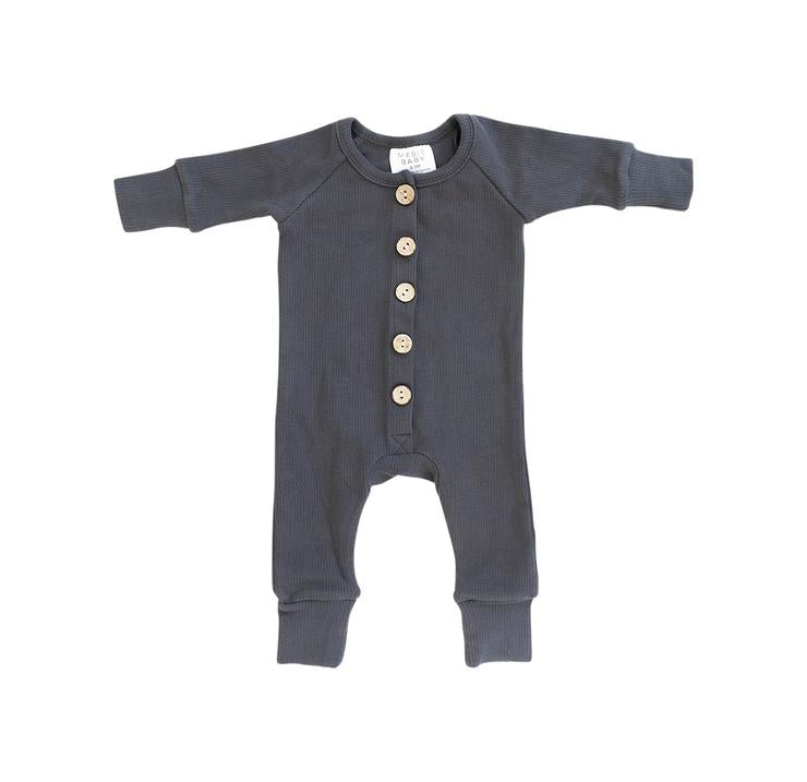 Charcoal Ribbed Long Sleeve Button Romper