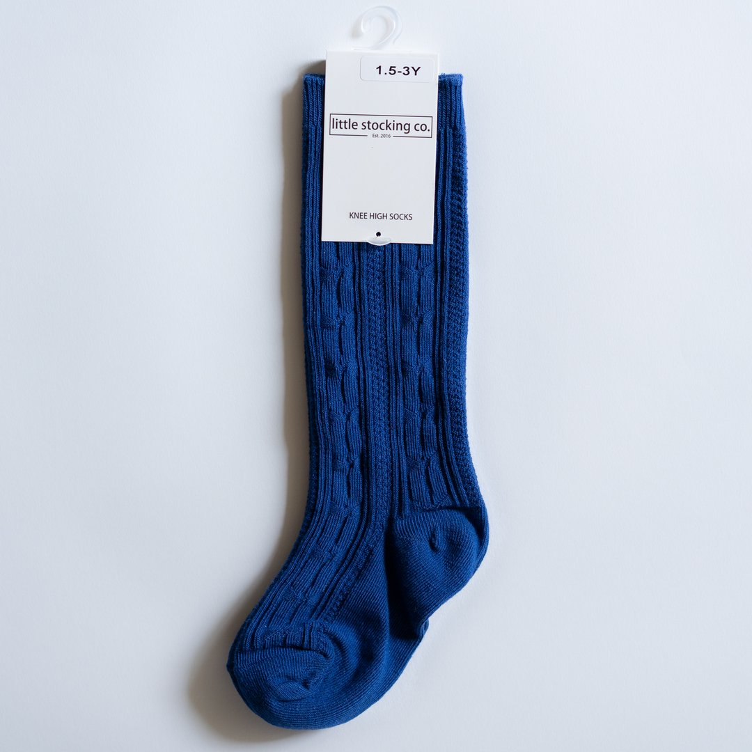 Classic Blue Cable Knit Knee High Socks
