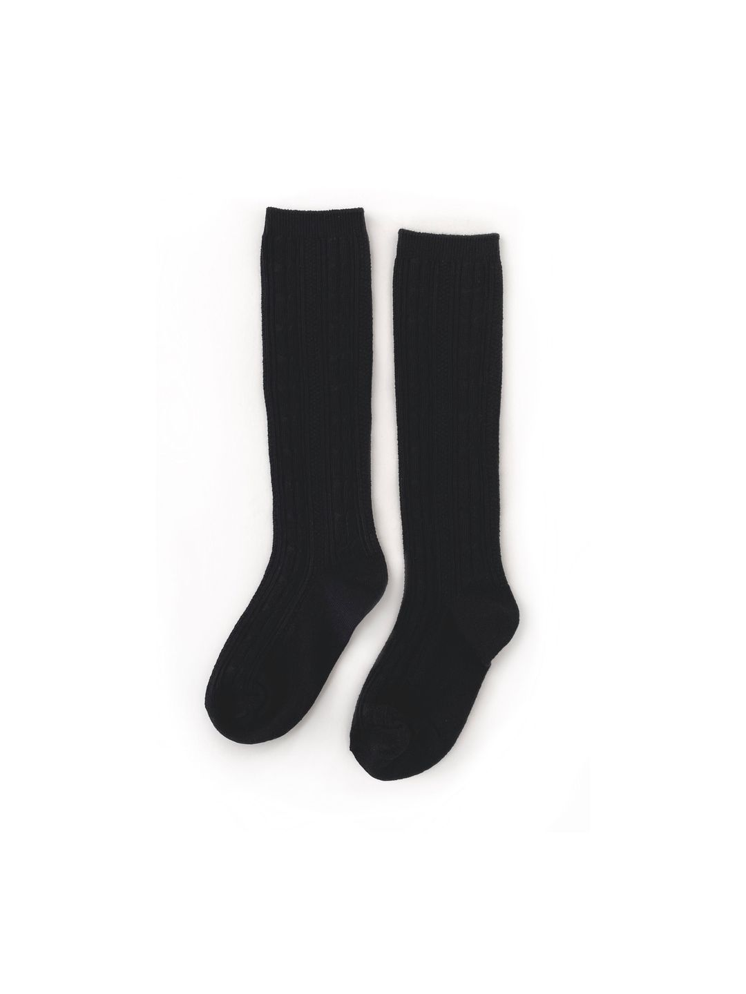 Black Cable Knit Knee High Socks