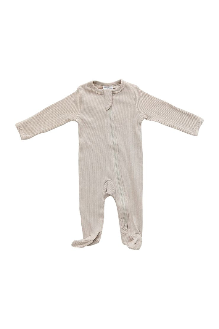 Oatmeal Ribbed Footed One-piece Zipper