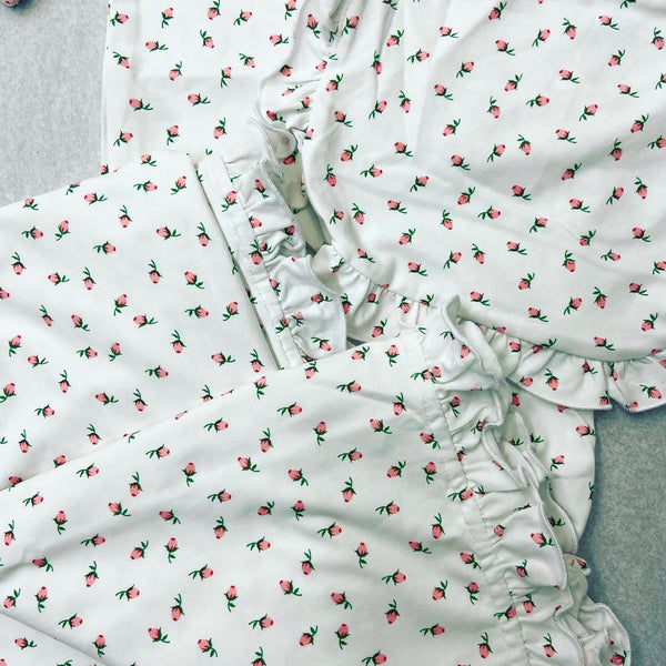 Rose Print Newborn Gown Set