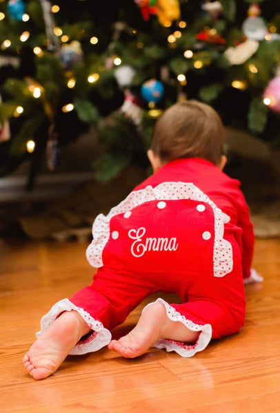 Christmas Girl PJ Romper with Flap