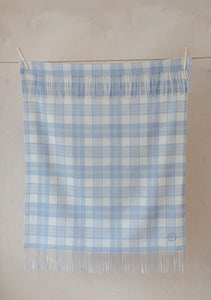 Super Soft Lambswool Baby Blanket in Powder Blue Check