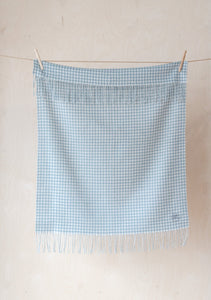 Super Soft Lambswool Baby Blanket in Soft Stone Gingham